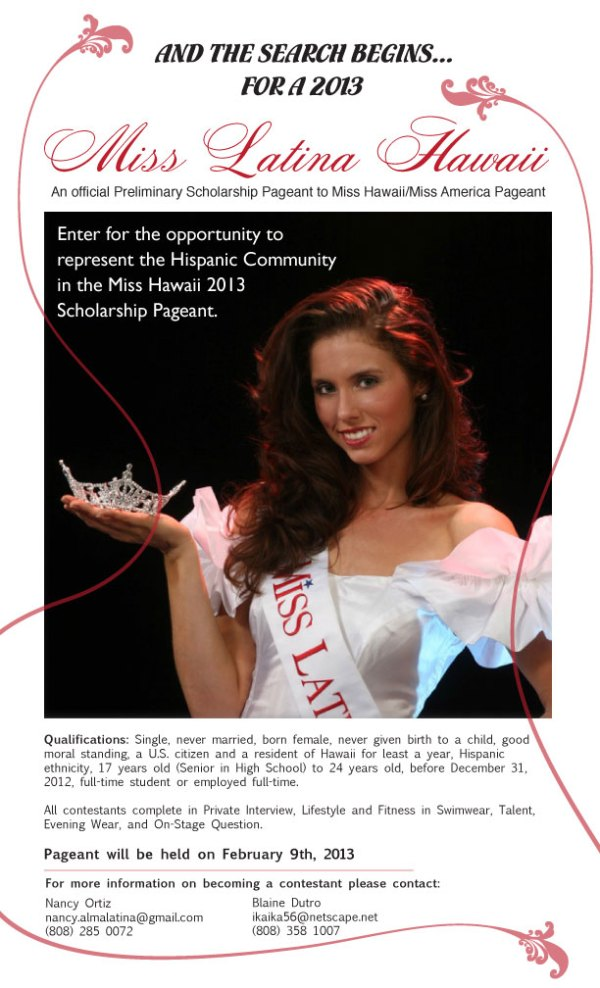 Search for Miss Latina Hawaii 2013